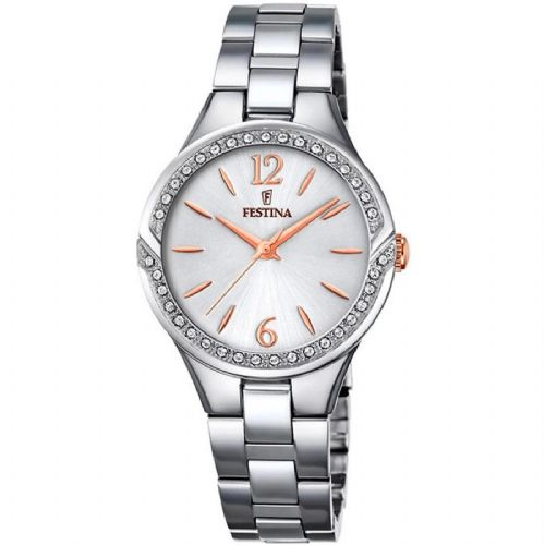 F20246/1 Festina Ladies  Watch Swarovski Crystal Set Stainless Steel Round Bracelet